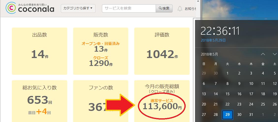 ココナラ売り上げ10万円超えの証明画像