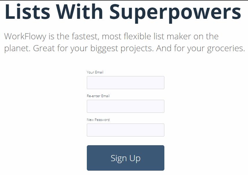 WorkFlowy ユーザー登録