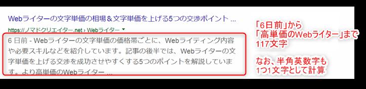 デスクトップ表示におけるディスクリプション表示文字数