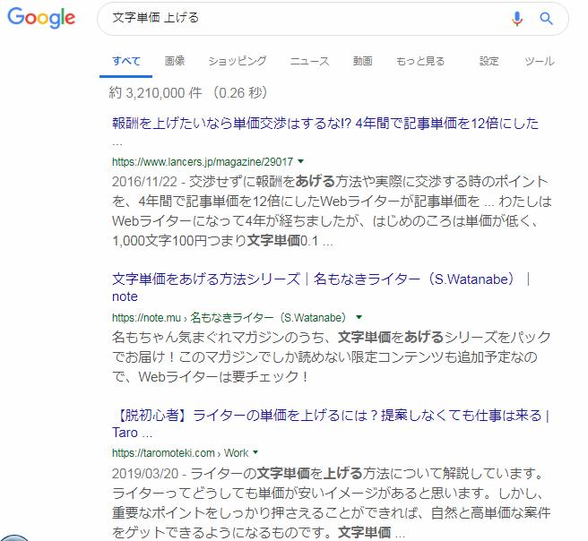 検索キーワード「文字単価 上げる」